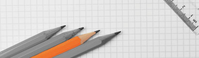 Pencils sitting on graph paper
