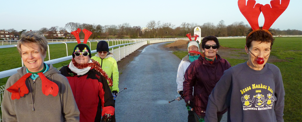 Christmas nordic walk at knavesmire york