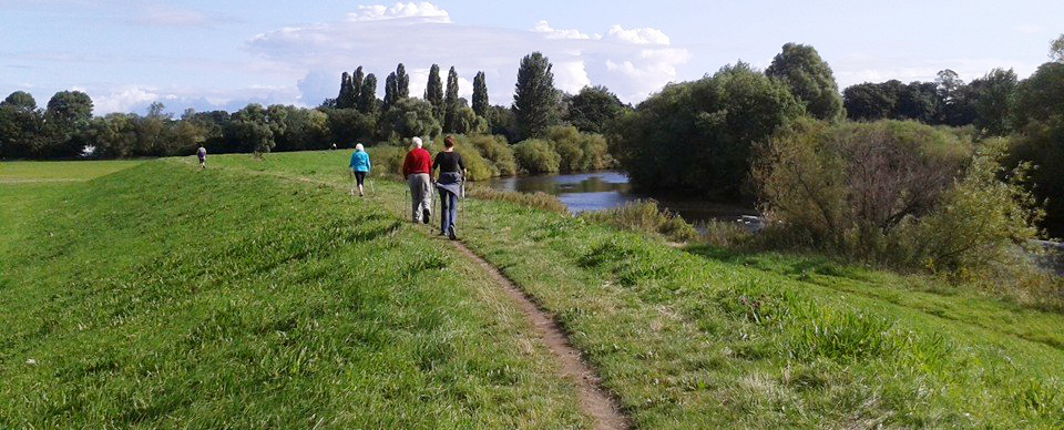 Nordic walking by the river in york