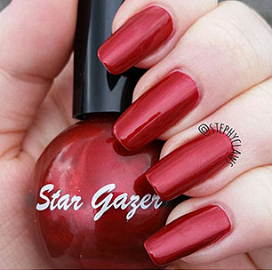 Star Gazer red nail varnish bottle