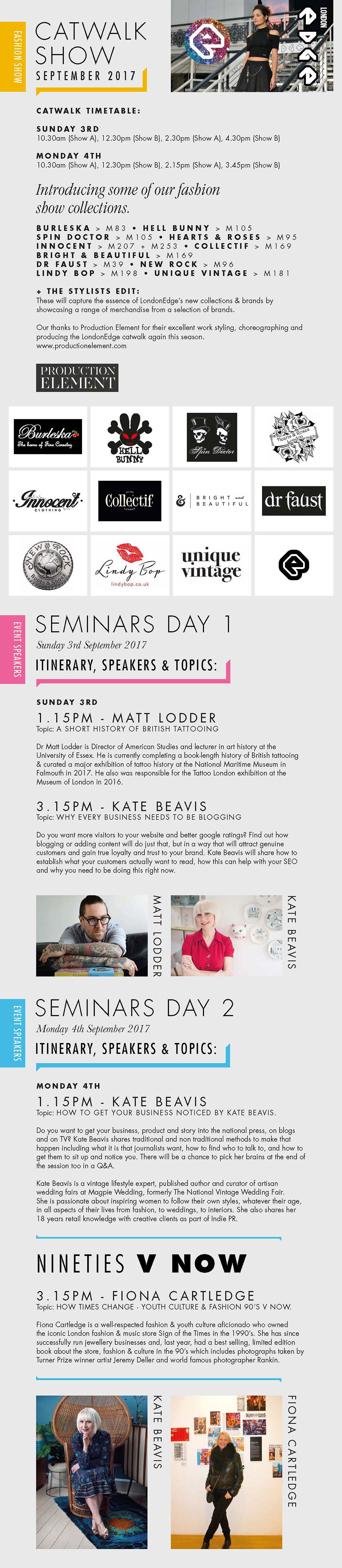 LondonEdge 3rd - 4th September 2017 Catwalk and Seminar Schedule
