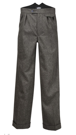 Grey Herringbone Fishtail Trousers