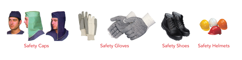 Safety Caps, Gloves, Shoes and Helmets