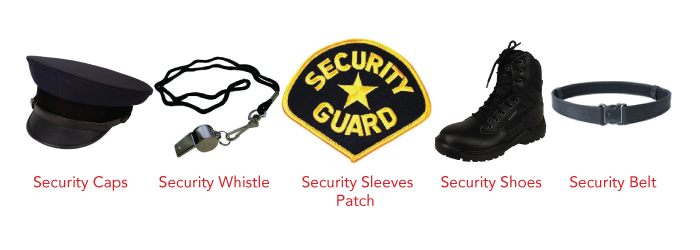 Security Caps, Whistle, Patch, Shoes, Belt