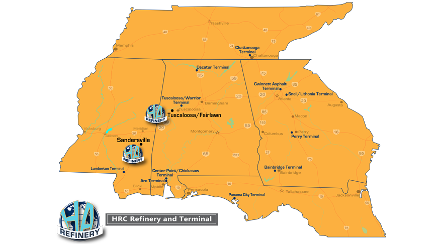 Hunt Asphalts, Asphalt Emulsions, and Industrial Emulsions are Available for Local Delivery from 12 Ports and Terminals in Alabama, Florida, Georgia, and Mississippi