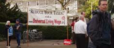 Universal Living Wage Banner with people standing and talking to one another