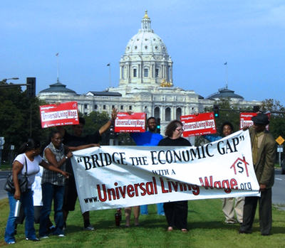 Supporters of Universal Living Wages holding signs up infront of the U.S. Capital Building