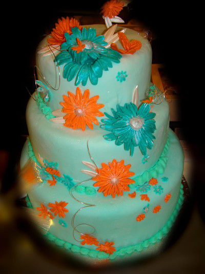 Funky n Bright Wedding Cake - MAD Cakes Exeter