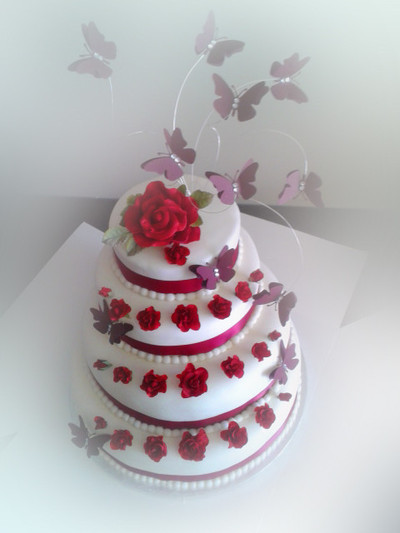 Traditional Rose Wedding Cake - MAD Cakes Exeter