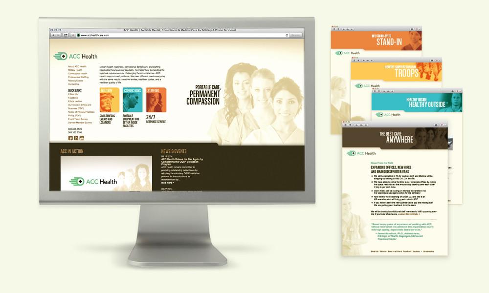 ACC Health website design, e-news templates, branding for mobile dental care