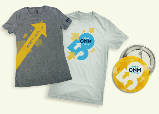 CNM 50th Anniversary t-shirt and pin design