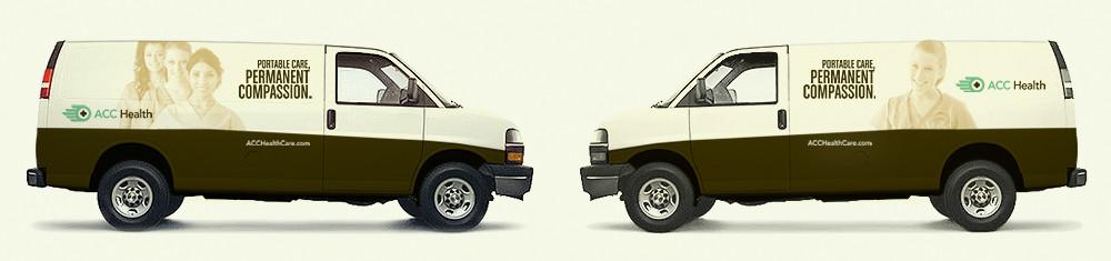ACC Health mobile dental care vehicle wraps
