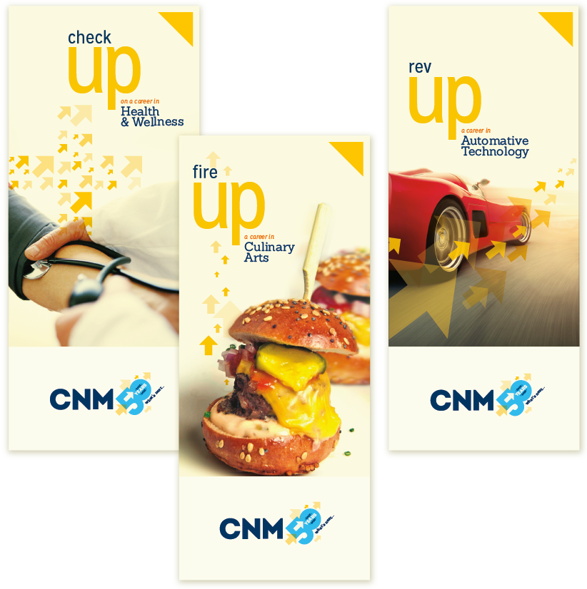 CNM 50th branding concept and graphic design, Albuquerque, NM