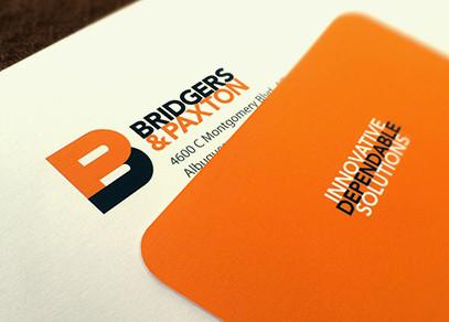 Bridgers & Paxton business card design