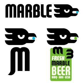 Marble Brewery logo variations., Albuquerque, NM