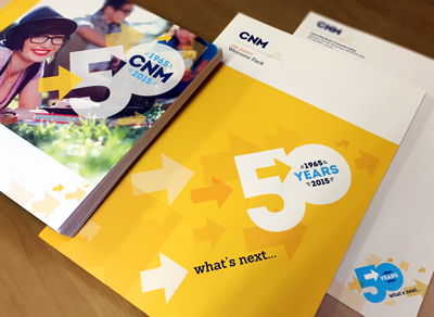 CNM 50th anniversary marketing materials and graphic design