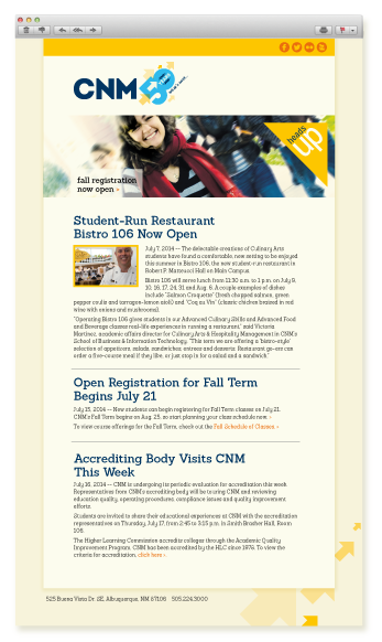 CNM 50th e-news template design