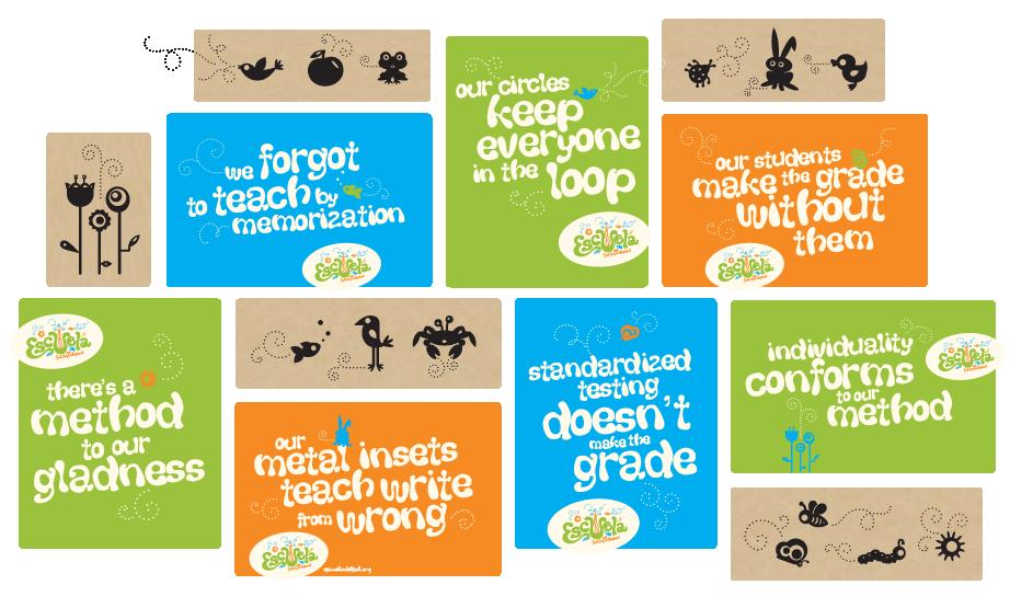 Escuela del Sol montessori school brand messaging and icon design