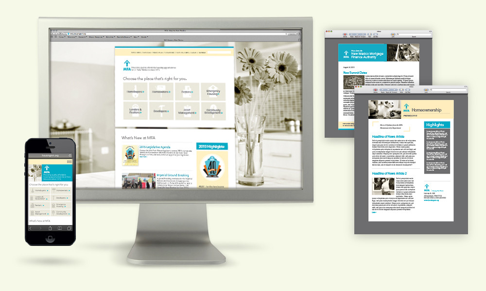 MFAhousing authority  website design, mobile and e-newsl design