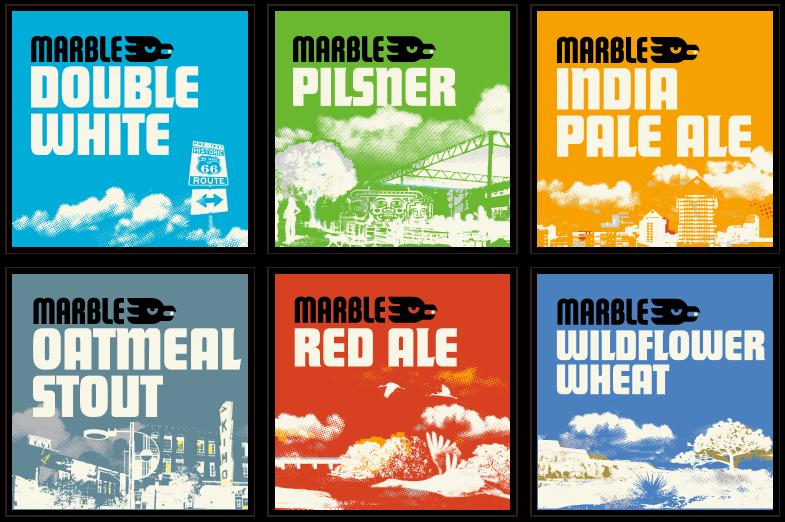 Marble Brewery beer identification branding