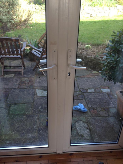 Tricky job, freeing a set of double doors, mechanism and euro rusted from being by the coast!