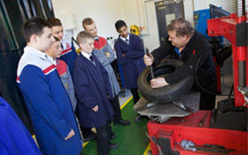 Motor vehicle students being taught