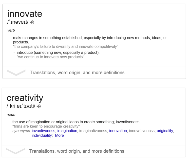 Definitions for 'innovate' and 'creativity'