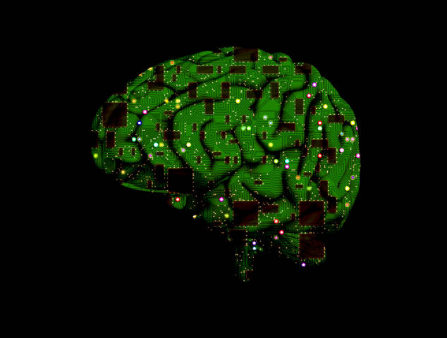 A printed circuit board in the shape of a human brain