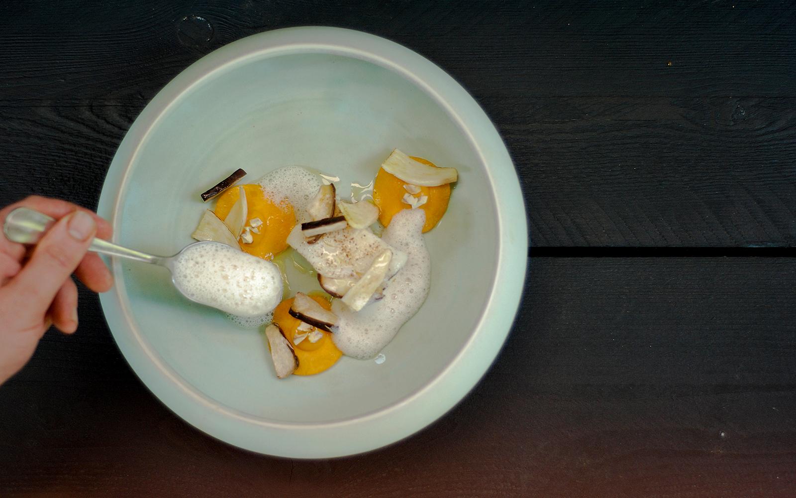 Vis met paddenstoelen Ysbrandt Wermenbol, restaurant Lime