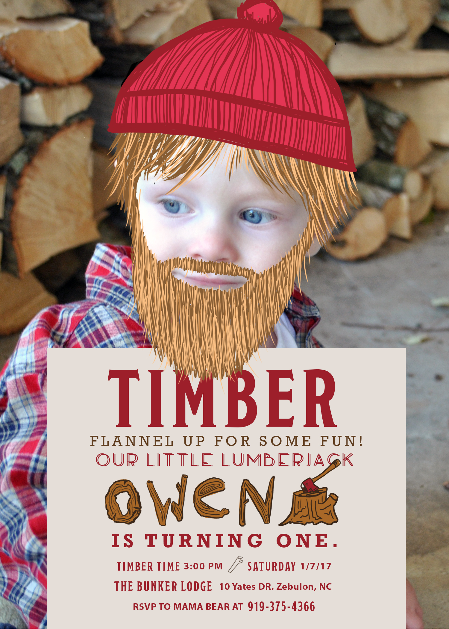 Lumberjack Birthday Invite