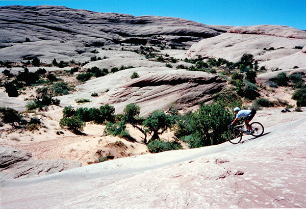 Len riding a Specialized Stumpjumper on the Slickrock Trail, Moab UT, 1994