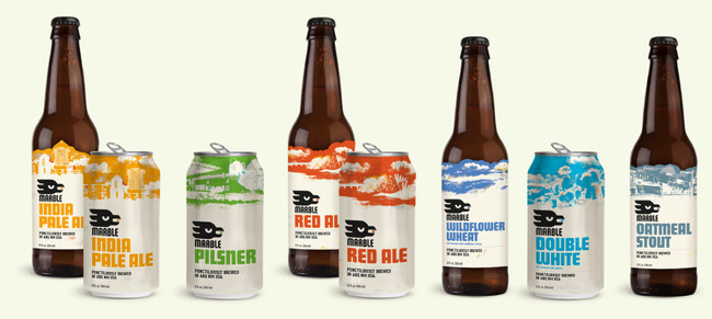 Marble Brewery Classic Beers can and label designs