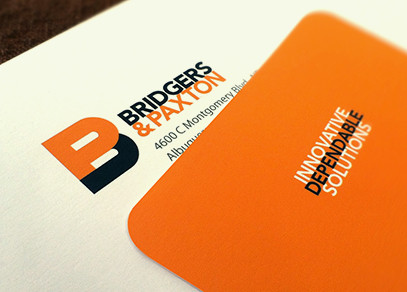 Bridgers & Paxton business card design