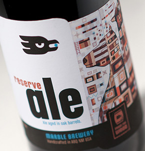 Marble Brewery Reserve Ale label design featuring art by Thomas Christopher Haag