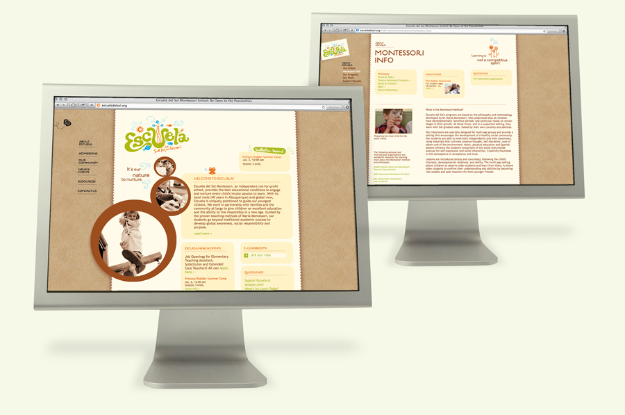 Escuela del Sol Montessori school website design