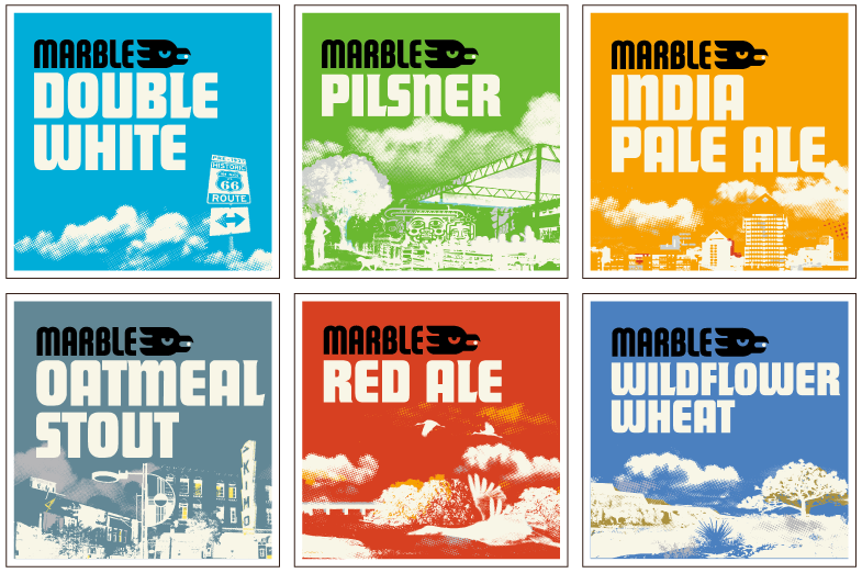 Marble Brewery beer identification branding