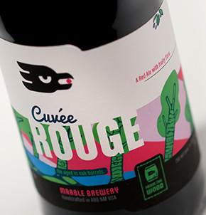 Marble Brewery Cuvee Rouge label deign featuring art by Ian Kerstetter
