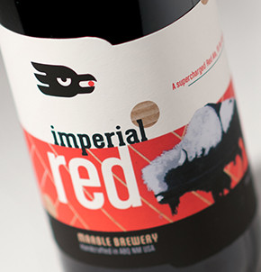 Marble Brewery Imperial Red label design  featuring art by Frank Buffalo Hyde