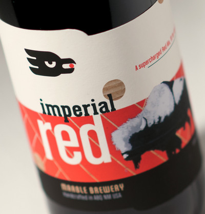 Marble Brewery Imperial Red,  label deisgn featuring Frank Buffalo Hyde art