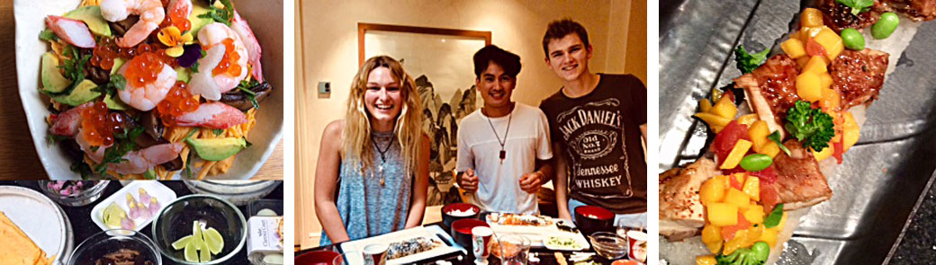 Photo of youngsters cooking Japanese food
