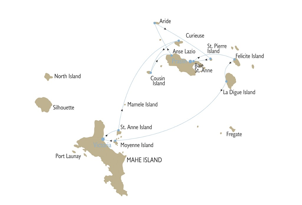 seychelles cruise map