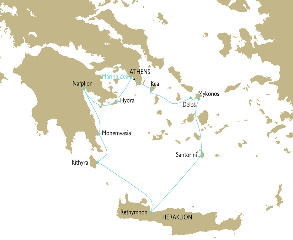 Greek Islands Cruise Map