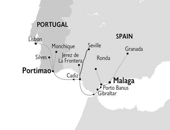 Spain and Portugal Cruise Map