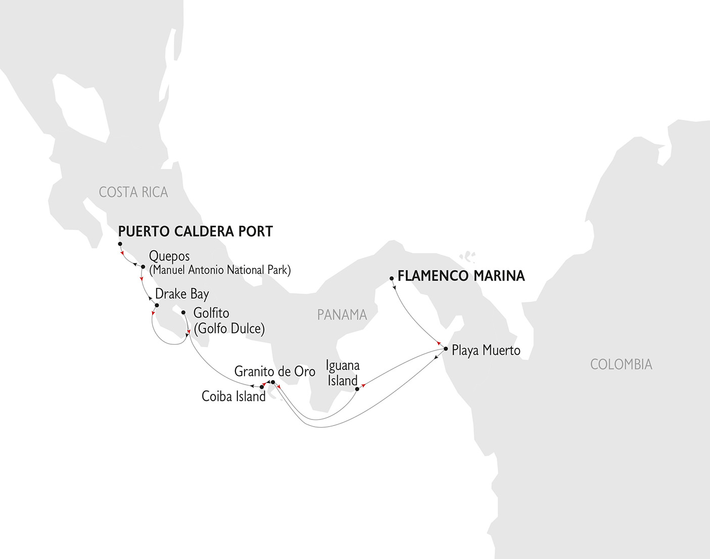 Costa Rica and Panama Cruise Map