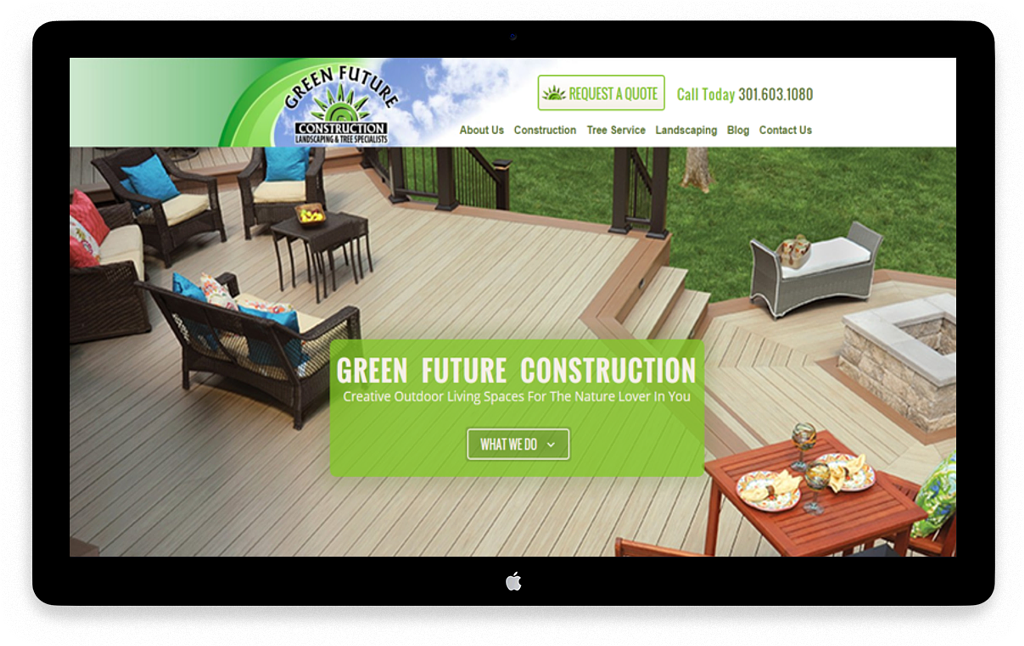 Green Future Construction - Custom Crafted Responsive Website - Desktop - LorDec Media Group