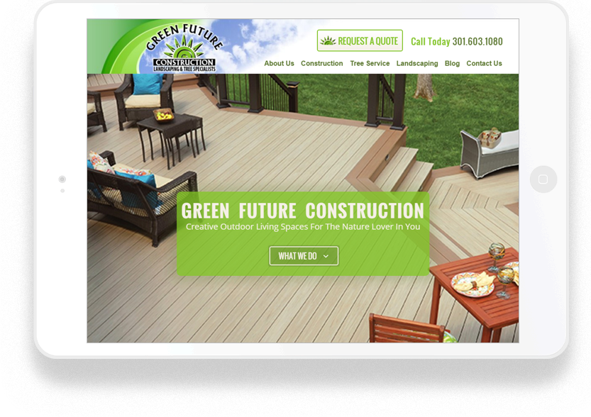 Green Future Construction - Custom Crafted Responsive Website - Tablet - LorDec Media Group