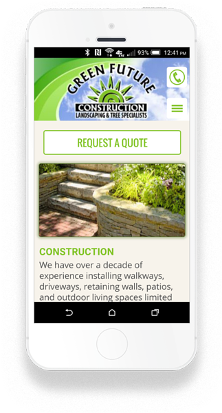 Green Future Construction - Custom Crafted Responsive Website - Smartphone - LorDec Media Group
