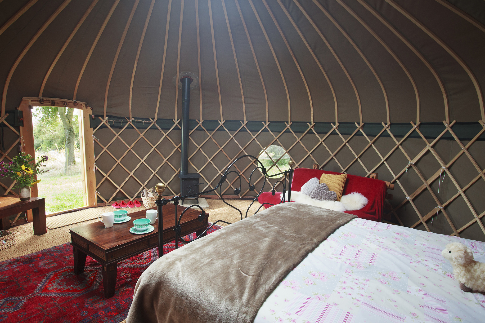 Inside the yurts