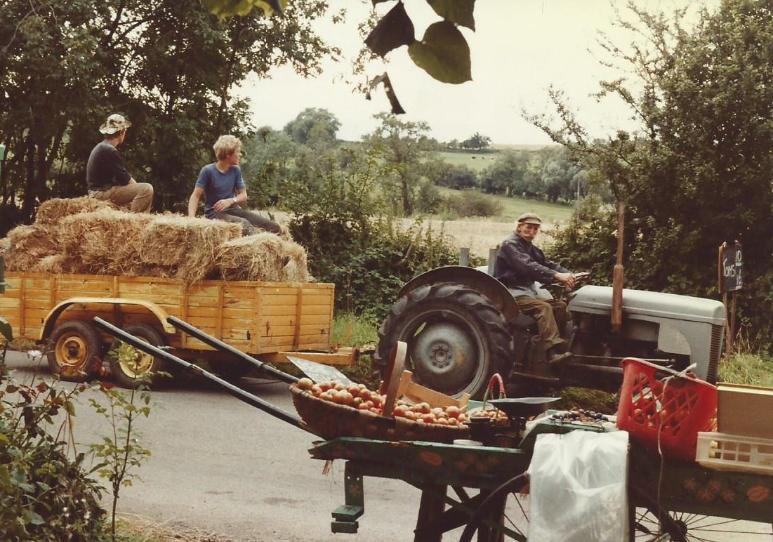 Haymaking and fruit stall